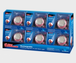 ULLMAN 24 LED Rotating Magnetic Work Light Rechargeable 6-Pack